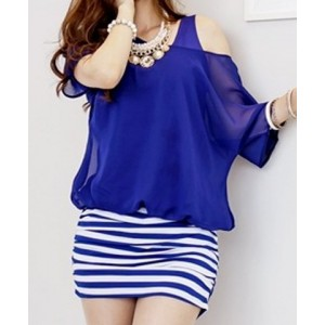 Casual Scoop Neck Short Sleeve Faux Twinset Spliced Striped Dress For Women blue black
