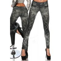 Casual Slimming Mid-Waisted Tattoo Graffiti Print Jean Leggings For Women black