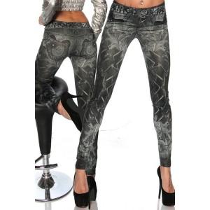 Casual Slimming Mid-Waisted Tattoo Graffiti Print Jean Leggings For Women black
