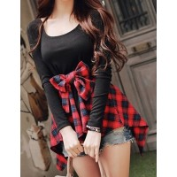 Checked Spliced Bowknot Embellished Stylish Scoop Neck Long Sleeve Women's T-Shirt red