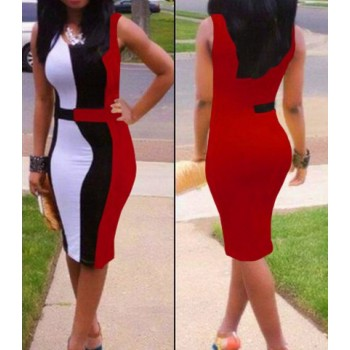 Color Block Sleeveless Scoop Neck Packet Buttock Trendy Dress For Women red blue