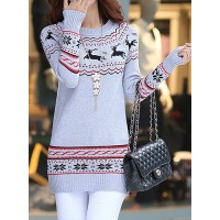 Deer Jacquard Pattern Stylish Round Neck Long Sleeve Women's Christmas Sweater gray white