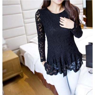 Elegant Ruffle Lace Splicing Long Sleeve Blouse For Women black