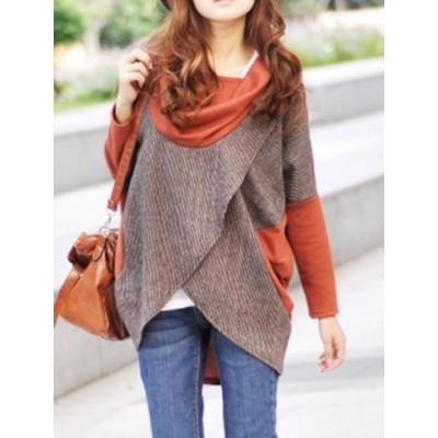 Elegant Women's Draped Collar Long Sleeve Color Block T-Shirt orange black khaki