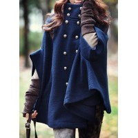 Fashionable Women's Stand Collar Double-Breasted Cape Coat blue