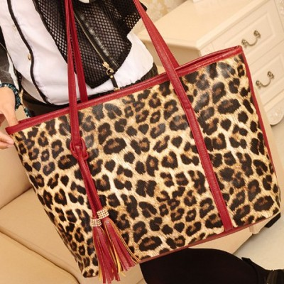 Gorgeous Women's Shoulder Bag With Leopard Print and Tassels Design red black