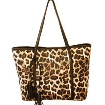 Gorgeous Women's Shoulder Bag With Leopard Print and Tassels Design red black