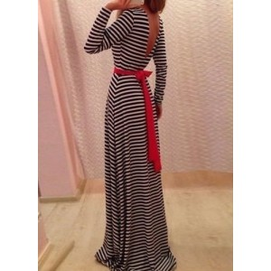 Jewel Neck Long Sleeves Striped Backless Stylish Long Dress For Women