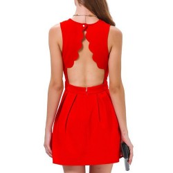 Jewel Neck Sleeveless Backless Red Stylish Dress For Women red