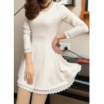Lacework Splicing Waisted Corset Stylish Scoop Collar Long Sleeve Women's Dress white black yellow