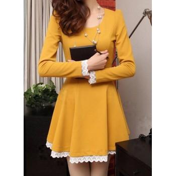 Lacework Splicing Waisted Corset Stylish Scoop Collar Long Sleeve Women's Dress white black yellow