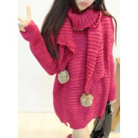 Ladylike Women's Scoop Neck Pure Color Long Sleeve Long Sweater with Scarf red gray green