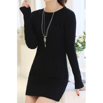 Long Sleeves Solid Color Sweater Stylish Dress For Women pink black blue white