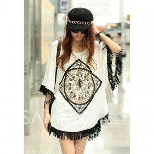 Loose-Fit Stylish Tassel Hem Batwing Sleeve Spring T-Shirt For Women white