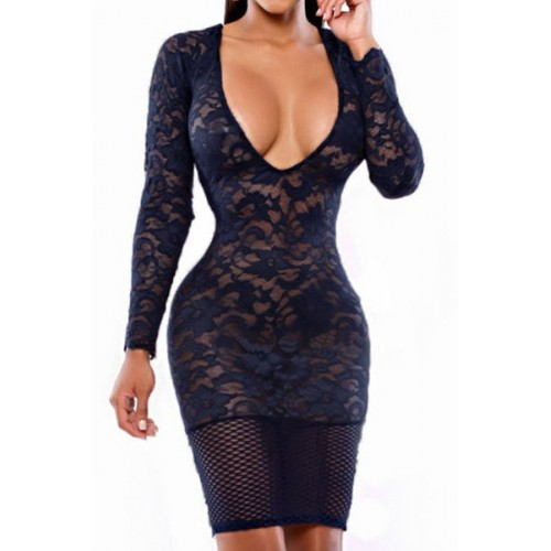 Plunging Neck Long Sleeves Sexy Lace Dress For Women white black ...