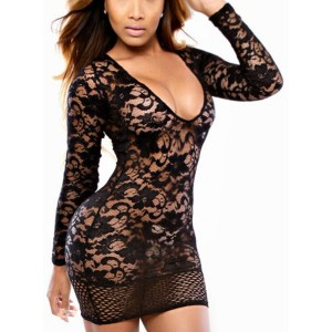 Plunging Neck Long Sleeves Sexy Lace Dress For Women white black blue