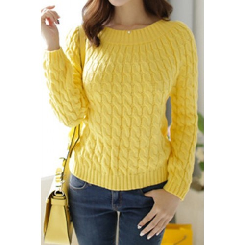 Retro Style Women s Jewel Neck Long Sleeve Cable-Knit Sweater ...