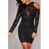 Round Neck Off-The-Shoulder Backless Long Sleeves Sexy Lace Dress For Women black