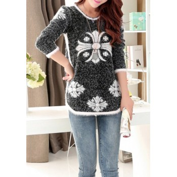 Scoop Neck Long Sleeves Print Stylish Long Sweater For Women red black