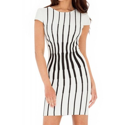 Scoop Neck Short Sleeves Striped Backless Stylish Dress For Women plum white