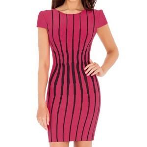 Scoop Neck Short Sleeves Striped Backless Stylish Dress For Women plum white
