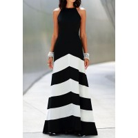 Sexy Halter Sleeveless Color Block Dress For Women white black
