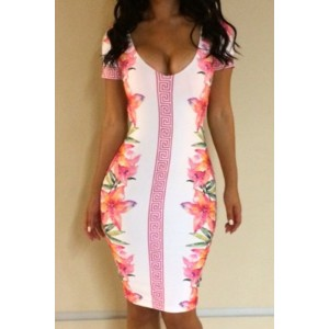 Sexy Plunging Neck Short Sleeve Floral Print Bodycon Dress For Women