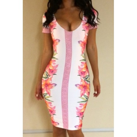 0fdddc7764 Sexy Plunging Neck Short Sleeve Floral Print Bodycon Dress For Women Zoom.  Product ...