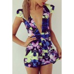 Sexy Plunging Neck Short Sleeve Printed Mini Dress For Women purple