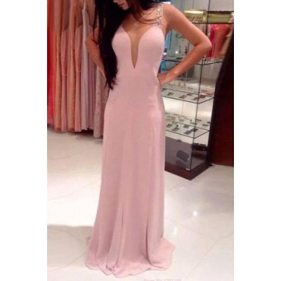 Sexy Plunging Neck Sleeveless Spliced Backless Dress For Women pink