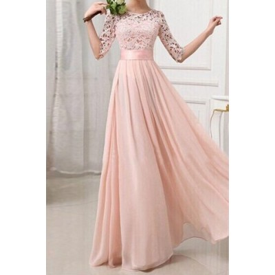 Sexy Round Neck 1/2 Sleeve Spliced See-Through Dress For Women pink white
