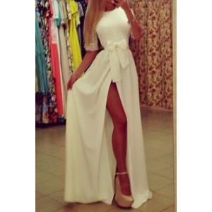 Sexy Round Neck 1/2 Sleeve Spliced See-Through Furcal Dress For Women white