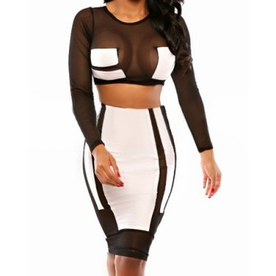 Sexy Round Neck Long Sleeve See-Through Crop Top + High-Waisted Skirt Twinset For Women white black