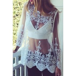 Sexy Round Neck Long Sleeve Spliced See-Through Blouse For Women white