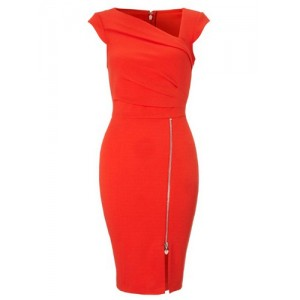Sexy Skew Neck Sleeveless Zippered Bodycon Dress For Women red