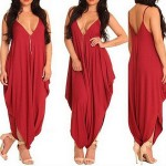 Sexy Spaghetti Strap Sleeveless Solid Color Low Cut Jumpsuit For Women red