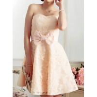 Sexy Strapless Sleeveless Bowknot Embellished Spliced Dress For Women pink blue red