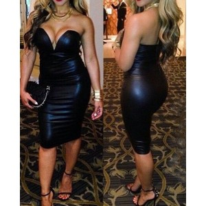 Sexy Strapless Sleeveless Solid Color Faux Leather Dress For Women black