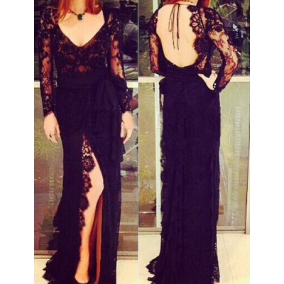 Sexy Style V-Neck Backless Solid Color Jag Lace Long Sleeve Women's Dress black
