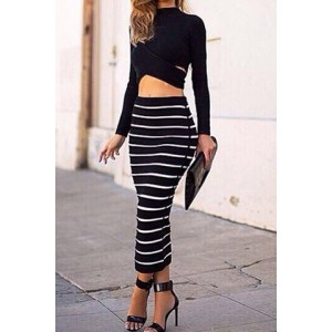 Sexy Turtle Neck Long Sleeve Crop Top + Bodycon Striped Skirt Twinset For Women black