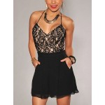 Sexy V Neck Spaghetti Strap Sleeveless Backless Lace Patchwork Black A Line Mini Skater Dress For Women