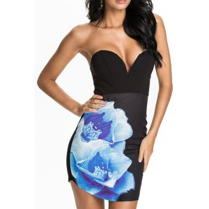 Sexy Women's Floral Print Strapless Bodycon Dress black