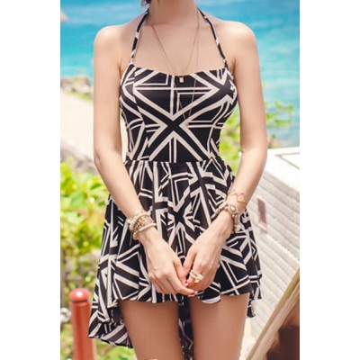 Sexy Women's Halter Geometric Two-Piece Swimsuit black white