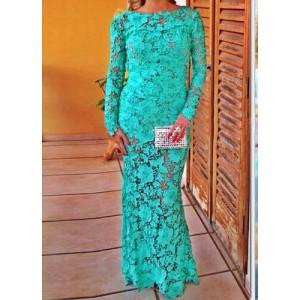 Sexy Women's Jewel Neck Backless Long Sleeve Floor-Length Lace Dress green