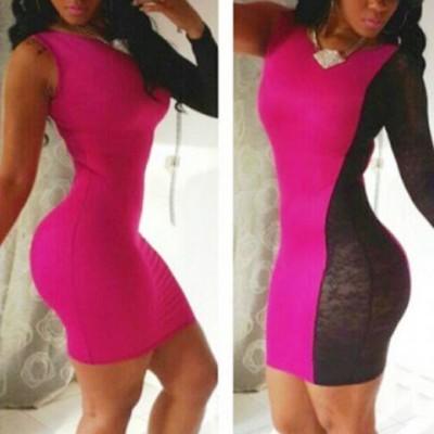 Sexy Women's Jewel Neck Color Block Long Sleeve Dress pink