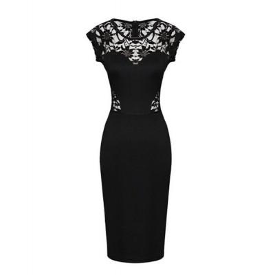 Sexy Women's Jewel Neck Lace Splicing Dress black