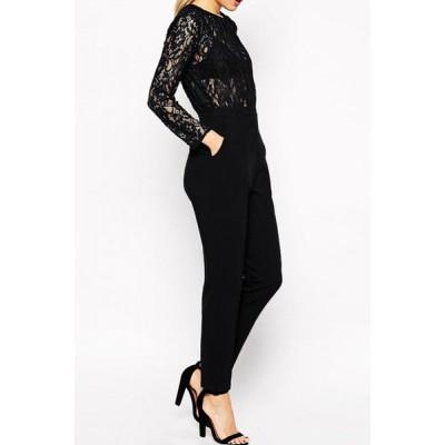 Sexy Women's Jewel Neck Long Sleeve Lace Splicing Jumpsuit black