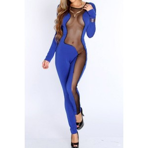 Sexy Women's Jewel Neck Slimming Mesh Splicing Jumpsuit blue