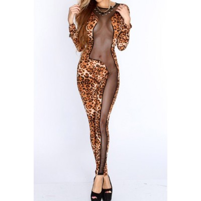 Sexy Women's Jewel Neck Slimming Mesh Splicing Leopard Print Jumpsuit