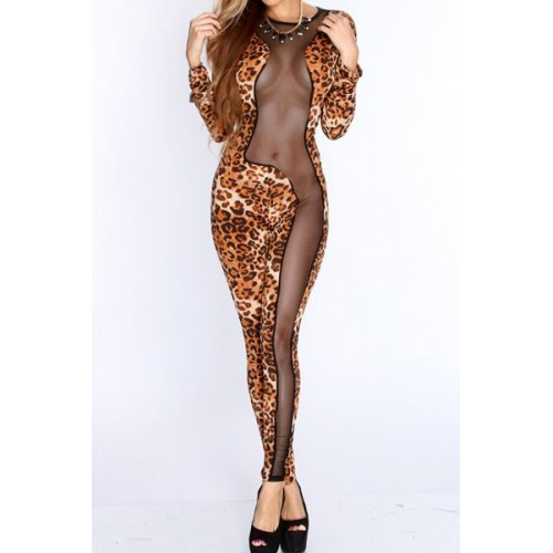 264e6184370 Sexy Women s Jewel Neck Slimming Mesh Splicing Leopard Print Jumpsuit Zoom.  Product ...